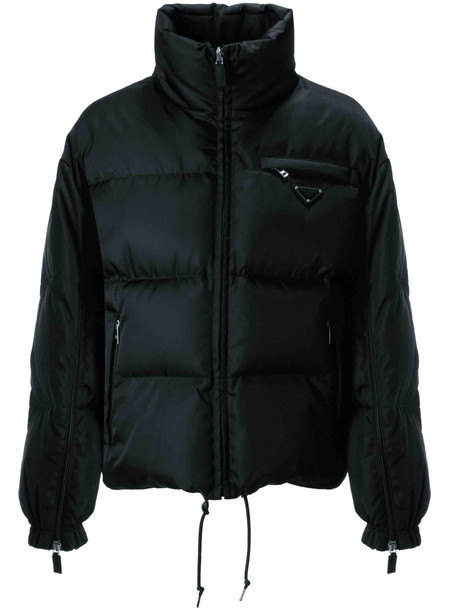 Prada Zipped Padded Jacket in nero