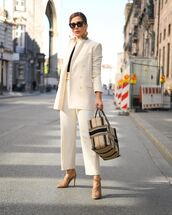jacket,white blazer,double breasted,white pants,high waisted pants,sandal heels,black t-shirt,dior bag