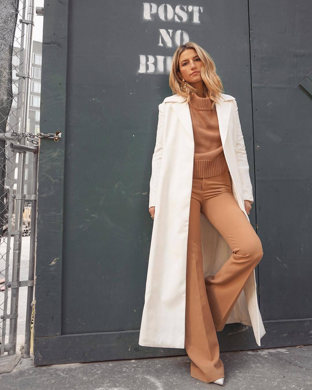 pants flare pants white shoes zara turtleneck sweater knitted sweater long coat white coat
