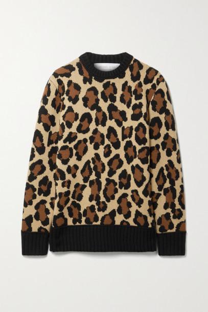 Michael Kors Collection - Leopard-jacquard Cashmere Sweater - Leopard print