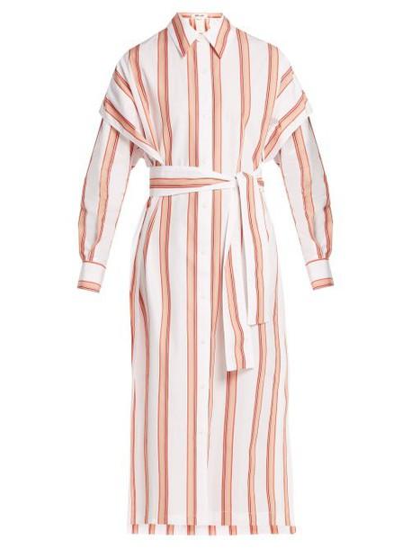 Diane Von Furstenberg - Striped Cotton Shirtdress - Womens - White Stripe