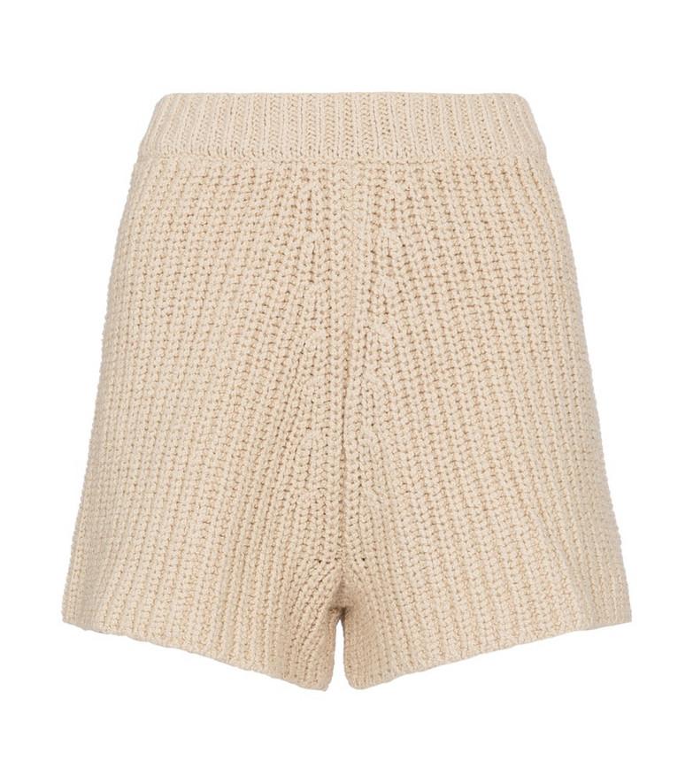 Alanui High-rise crochet shorts in beige