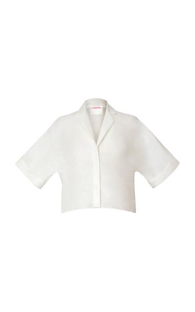 Alejandra Alonso Rojas Linen-Blend Top Size: 0 in white