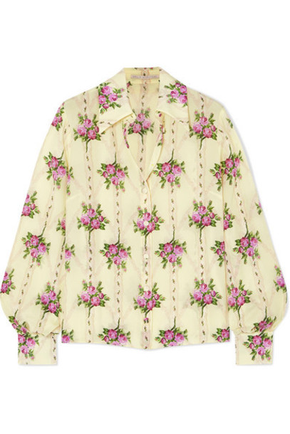 Emilia Wickstead - Floral-print Silk Crepe De Chine Shirt - Yellow
