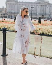 dress,white dress,long sleeve dress,floral dress,midi dress,h&m,sandals,bag