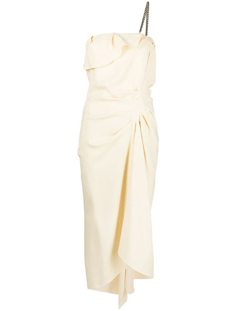 Nº21 chain-embellished draped dress in neutrals