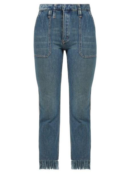 Chloé Chloé - Frayed High Rise Cropped Jeans - Womens - Denim