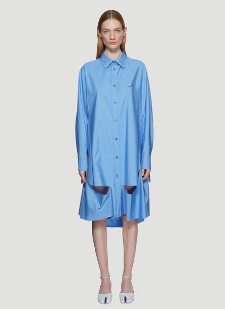 Maison Margiela Oversized Deconstructed Shirt in Blue size S