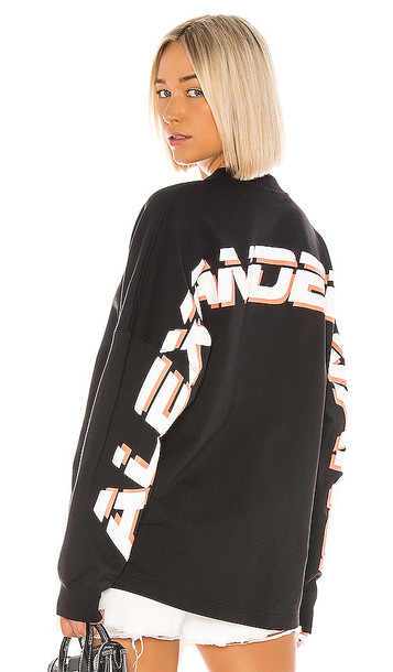 T by Alexander Wang Dry French Terry Logo Pullover in Black