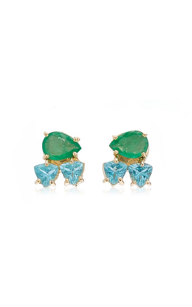 Carolina Neves 18K Yellow Gold Emerald, Apatite Earrings in multi