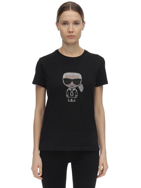 KARL LAGERFELD Embellished Cotton Jersey T-shirt in black