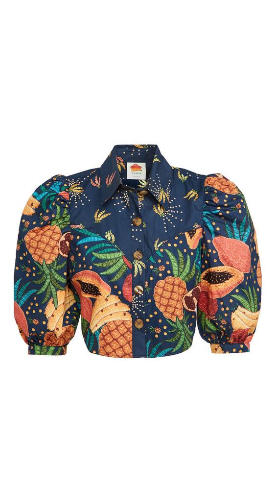FARM Rio Fruit Forest Western Cropped Shirt in multi