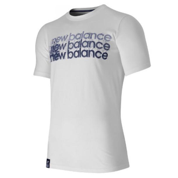 New Balance 53512 Men's Short Sleeve Graphic Tee - White, Navy (MT53512WN)