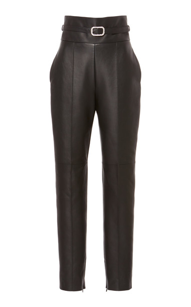 Alexandre Vauthier Belted Leather Trouser in black