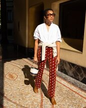 pants,embroidered,chloe,brown boots,bucket bag,white shirt