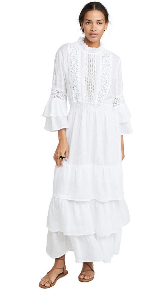 Temptation Positano Linen Crew Neck Bell Sleeve Dress in white
