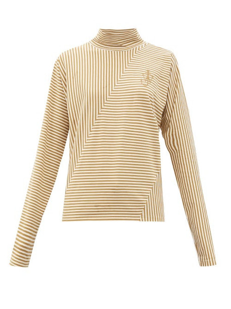 JW Anderson - Roll-neck Striped Cotton-blend Top - Womens - Beige White
