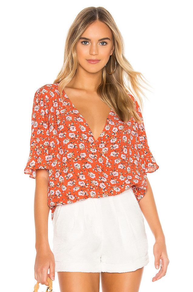 Sanctuary Garden Party Wrap Top in red