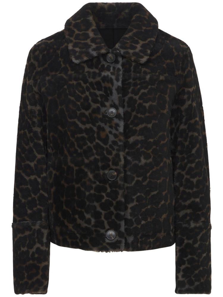 YVES SALOMON Reversible Fur Printed Jacket in grey / leopard