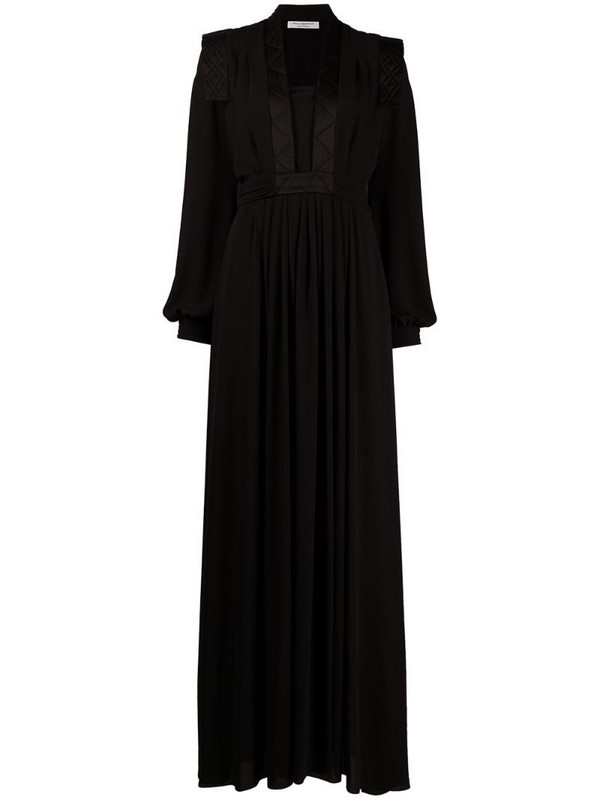 Philosophy Di Lorenzo Serafini quilted-trim bishop sleeved gown in black