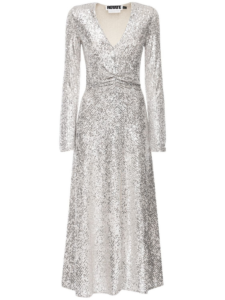 ROTATE Sierra Sequined Midi Dress in silver