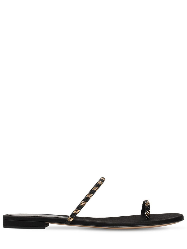 GIANVITO ROSSI 10mm Tecla Embellished Suede Sandals in black