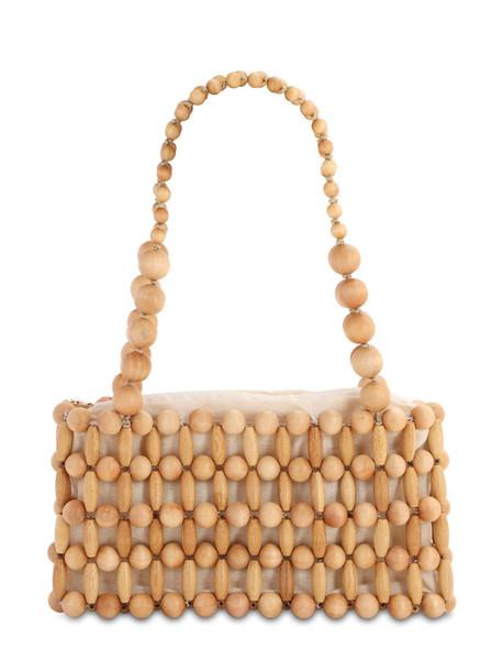 CULT GAIA Cora Beaded Wood Shoulder Bag in natural