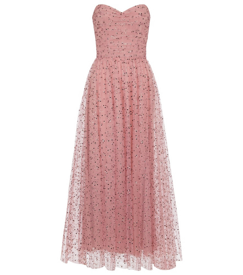 Monique Lhuillier Embellished tulle midi dress in pink