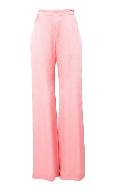 Brandon Maxwell High-Waisted Silk Trousers Size: 12 in pink