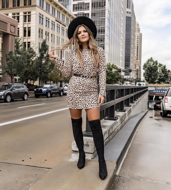 dress mini dress long sleeve dress black boots knee high boots hat