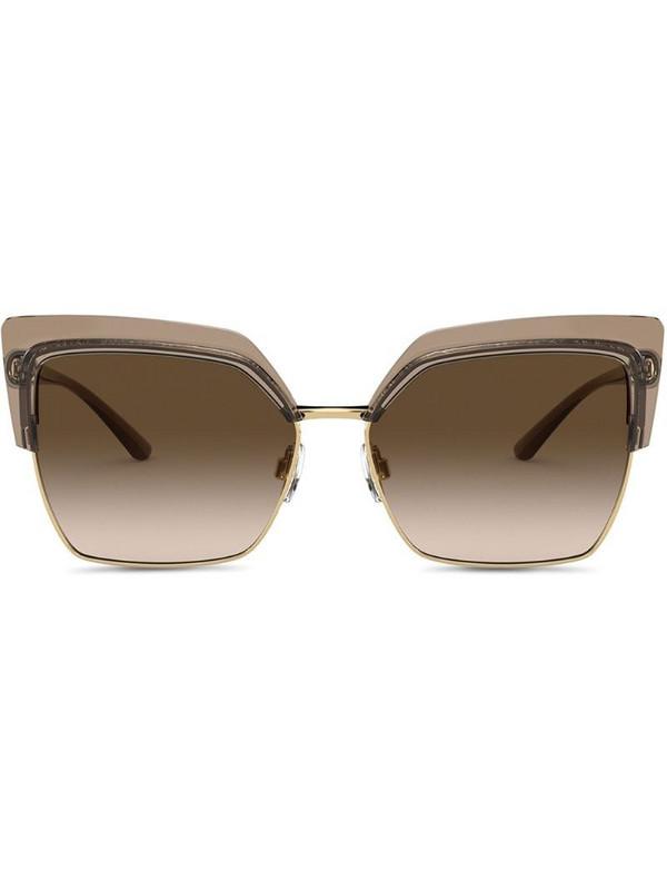 Dolce & Gabbana Eyewear Double Line oversized-frame sunglasses in brown