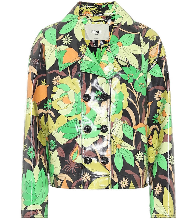 Fendi Floral coated-cotton jacket in green