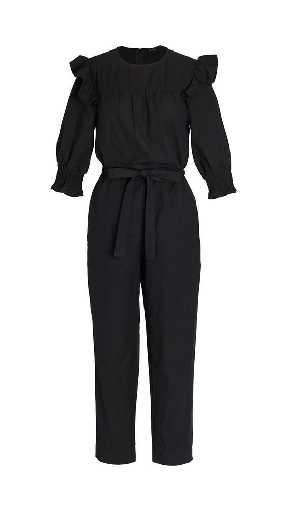 En Saison Poplin Ruffled Jumpsuit in black