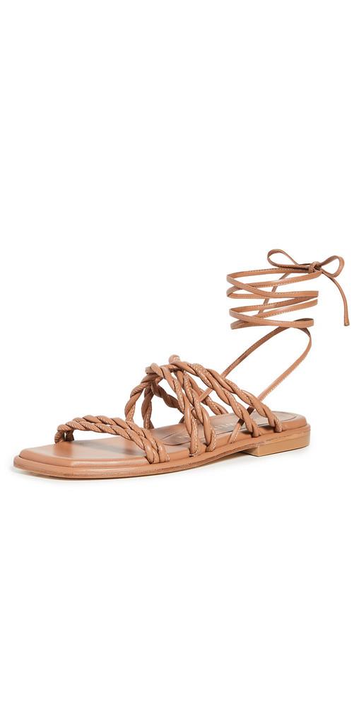 Stuart Weitzman Calypso Lace Up Sandals in tan