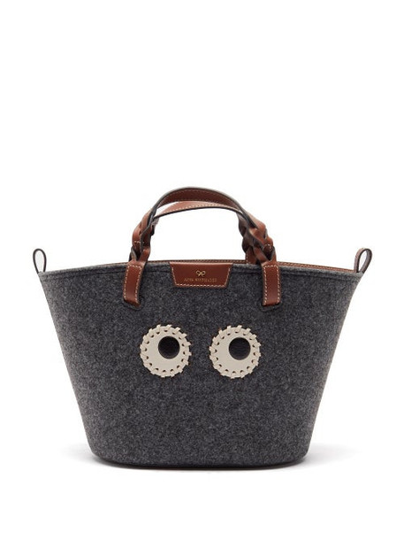 Anya Hindmarch - Eyes Small Leather-trim Recycled-felt Tote Bag - Womens - Grey