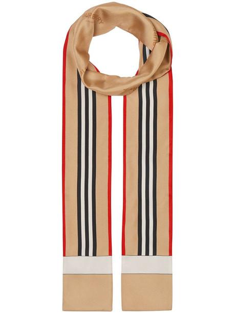 Burberry Icon Stripe print skinny scarf in neutrals