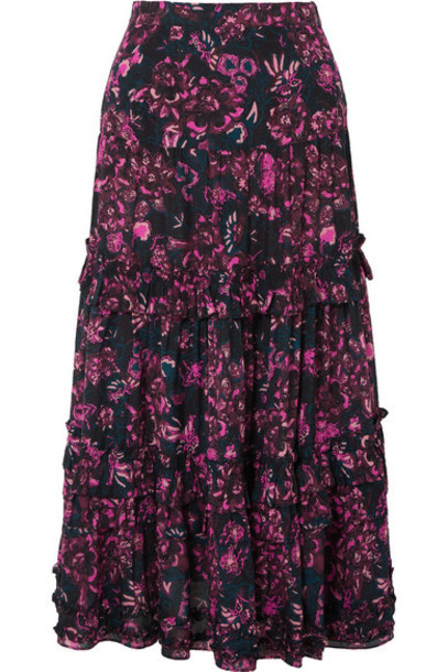 Ulla Johnson - Amalia Tiered Floral-print Cotton-blend Voile Midi Skirt - Dark purple