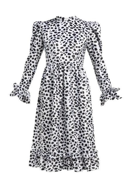 Batsheva - Dalmation Print Textured Velvet Dress - Womens - Black Multi