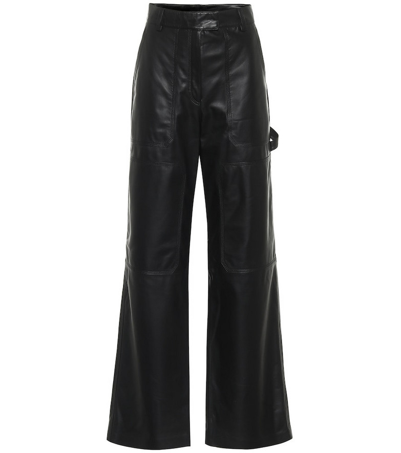 Common Leisure High-rise flared leather pants in black