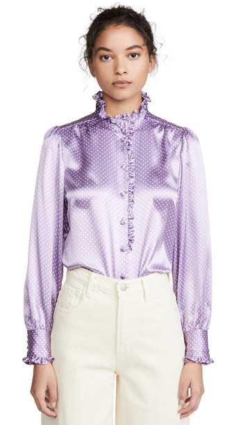 Runway Marc Jacobs Spot Blouse With Ruffle At Collar & Cuff in lilac