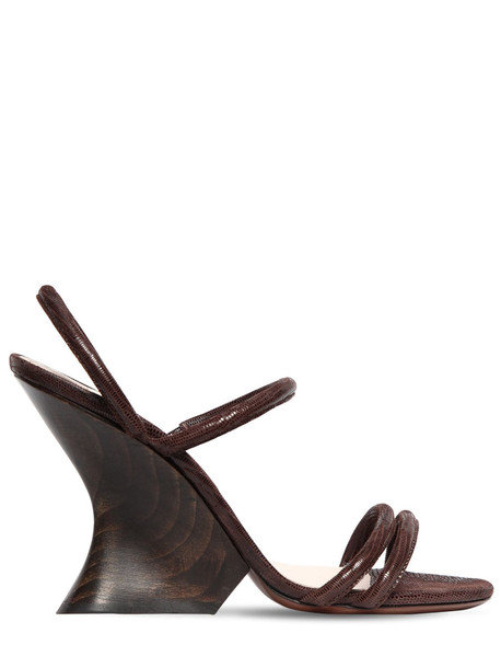 ALEXA CHUNG 100mm Perfect Lizard Print Suede Wedges in brown