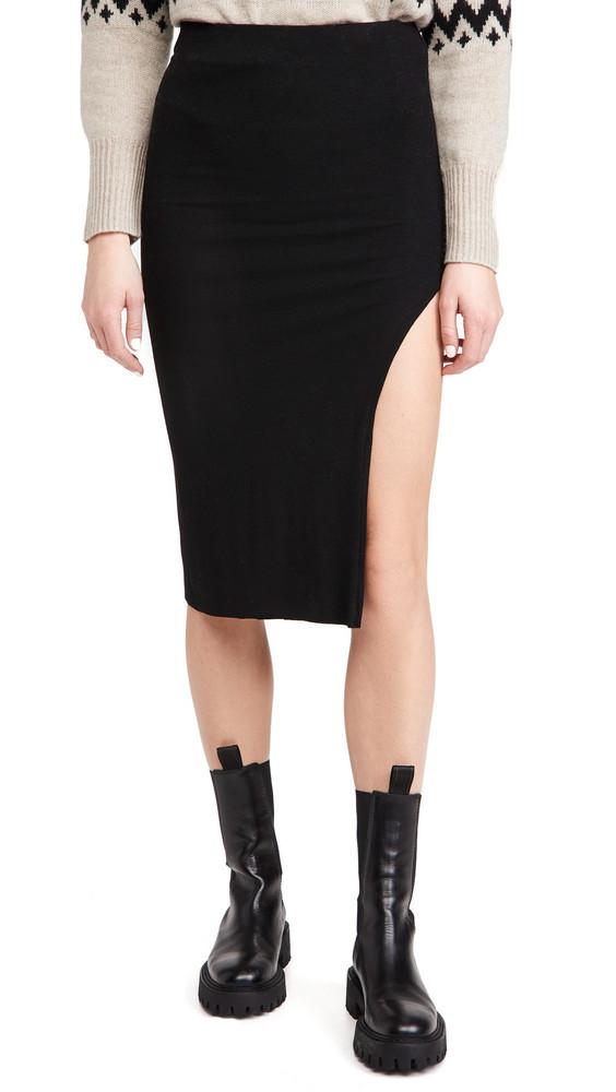 re:named re: named Janet Knit Slit Skirt in black