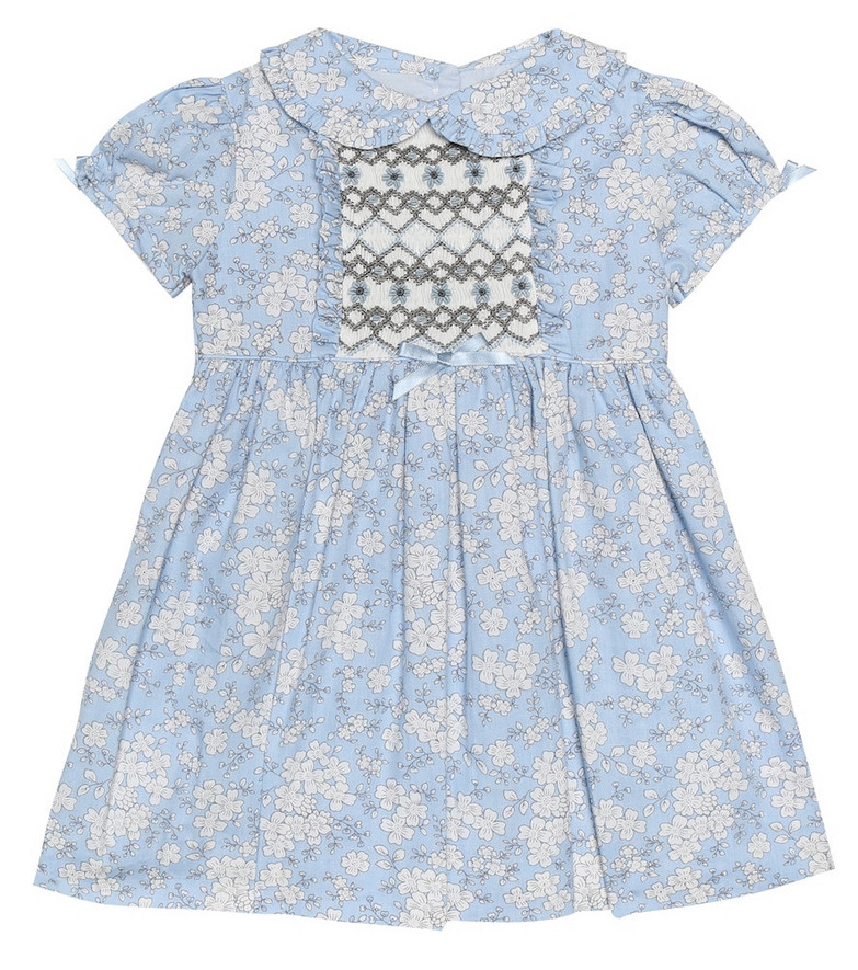 Rachel Riley Baby floral cotton dress and bloomer set in blue