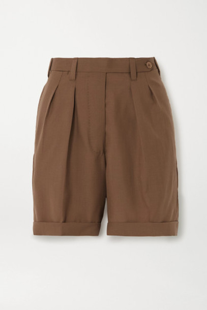 Giuliva Heritage Collection - The Husband Grain De Poudre Wool Shorts - Brown