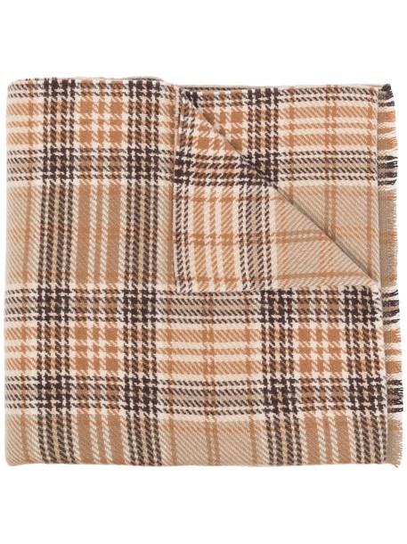 Acne Studios tartan logo scarf in brown