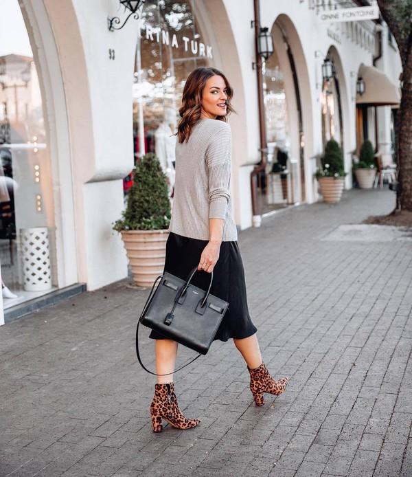 dress black dress midi dress leopard print ankle boots heel boots grey sweater black bag shoulder bag