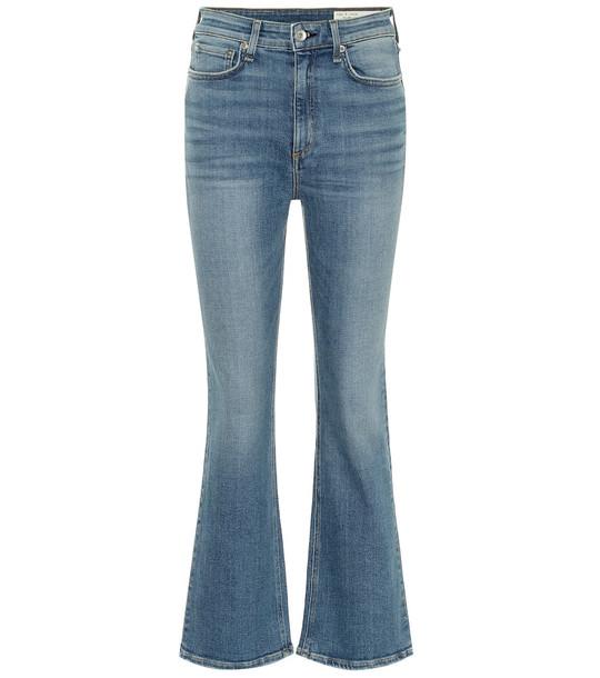 Rag & Bone Nina high-rise cropped flared jeans in blue