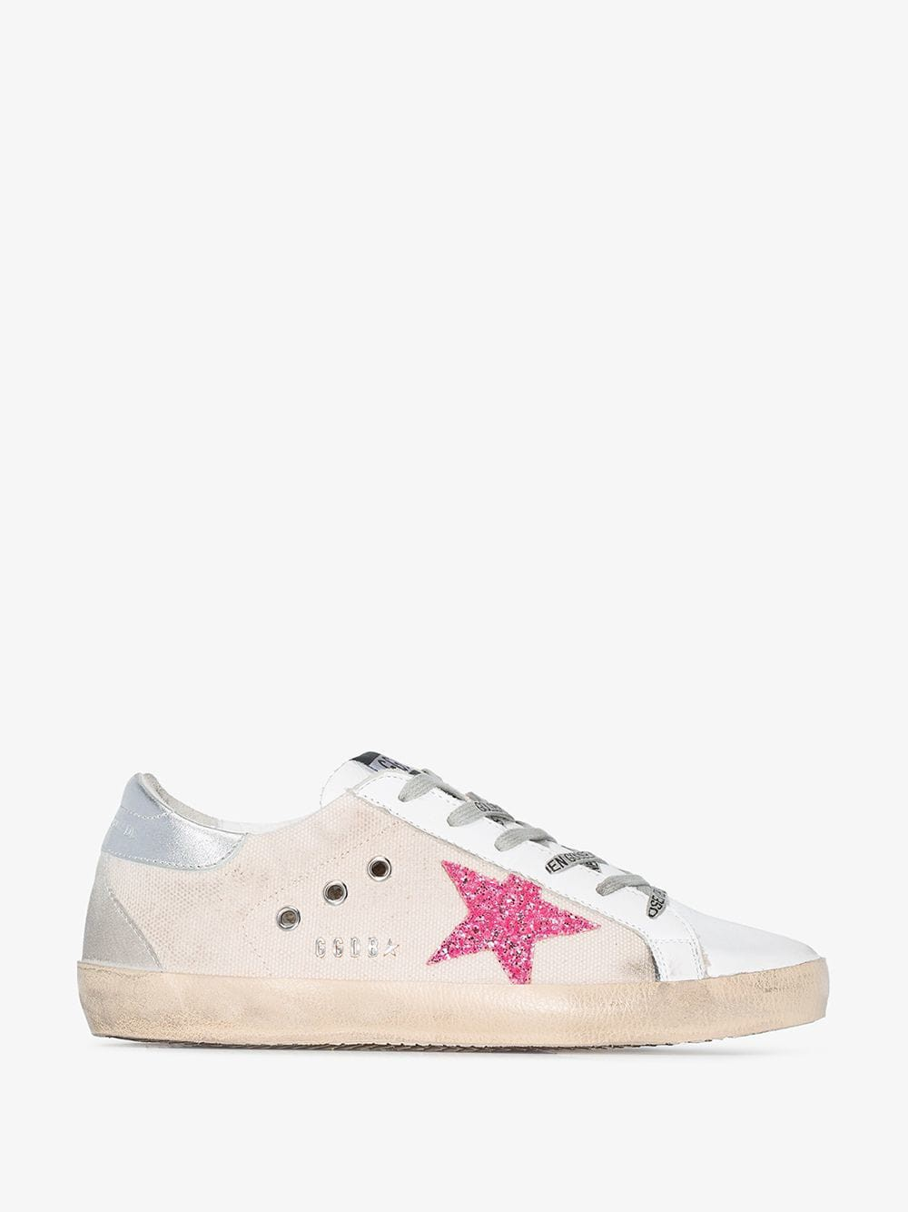 Golden Goose Deluxe Brand Golden Goose White and pink Superstar canvas sneakers