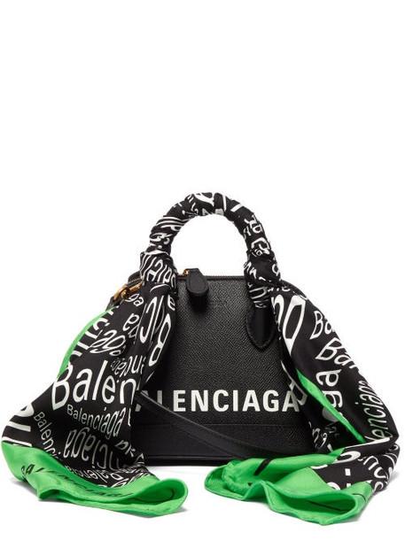 Balenciaga - Ville Xxs Scarf Trimmed Leather Cross Body Bag - Womens - Black