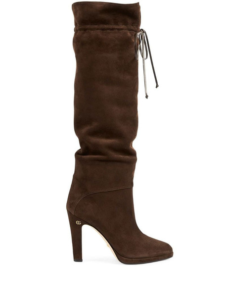 Gucci Double G knee-high boots in brown